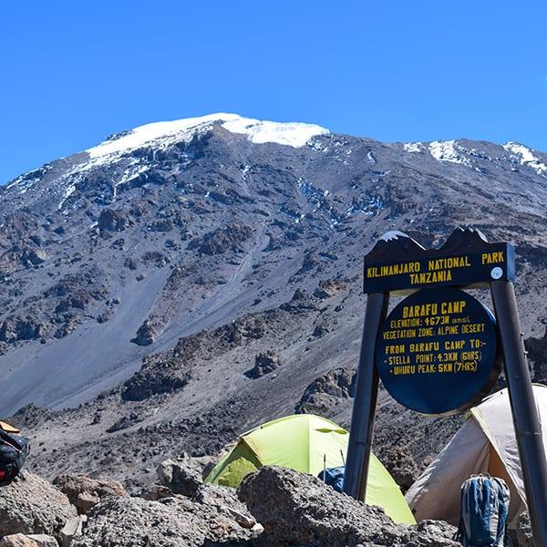 barafu camp sign