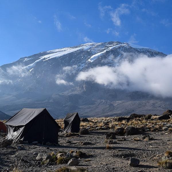 karanga camp view of kilimanjaro