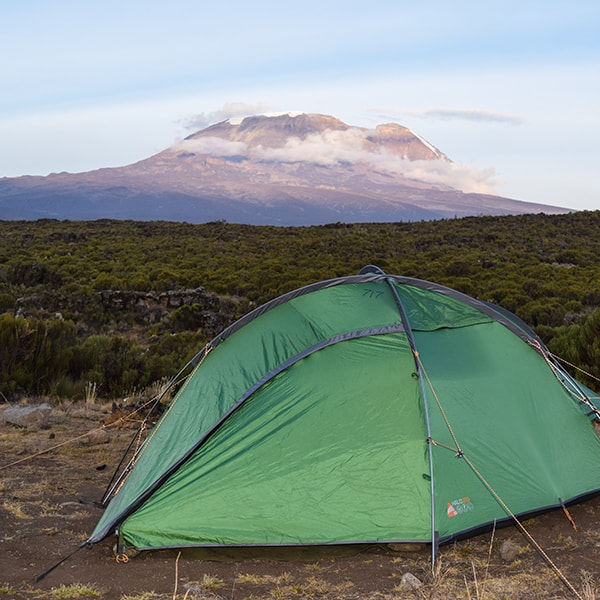 tent in front of kilimanjaro